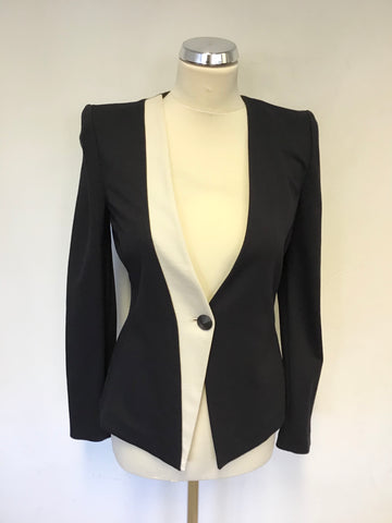BRAND NEW ARMANI EXCHANGE NAVY BLUE & IVORY TRIM JACKET SIZE 40 UK 8