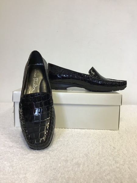 BRAND NEW JANE SHILTON BLACK PATENT LEATHER CROC PRINT LOAFERS SIZE 4/37