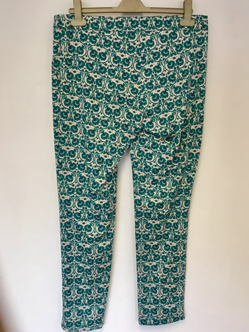 BRAND NEW MONSOON TURQOUISE & IVORY PRINT CROP TROUSERS SIZE 10