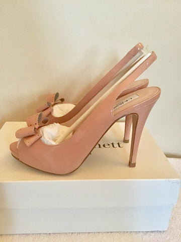 BRAND NEW LK BENNETT PACIFIC BLUSH PINK PATENT LEATHER PEEPTOE SLINGBACK HEELS SIZE 7/40