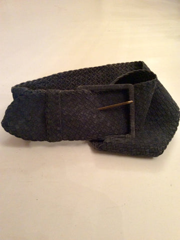 REISS DARK GREY LEATHER PLAITED BELT SIZE M