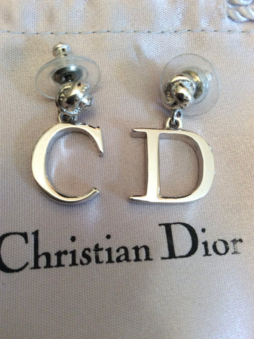 VINTAGE CHRISTIAN DIOR SILVER C & D INITIAL DROP PIECED EARRINGS