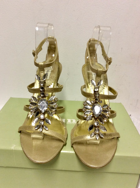 BRAND NEW DUNE GOLD JEWELLED STRAPPY SANDALS SIZE 7/40