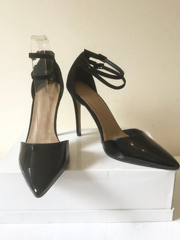 BRAND NEW ASOS BLACK PATENT LEATHER & SUEDE ANKLE STRAP HEELS SIZE 6/39