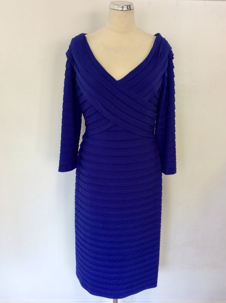 GINA BACCONI BLUE PLEATED 3/4 SLEEVE SPECIAL OCCASION DRESS SIZE 16