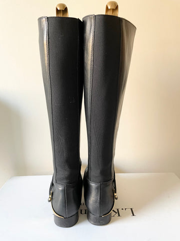 LK BENNETT NELIA BLACK LEATHER ELASTICATED PANEL KNEE LENGTH BOOTS SIZE 5/38