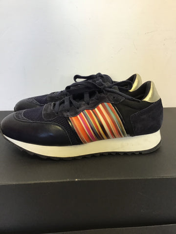 PAUL SMITH NAVY BLUE SUEDE & LEATHER MULTI COLOURED STRIPE TRAINERS SIZE 6/39