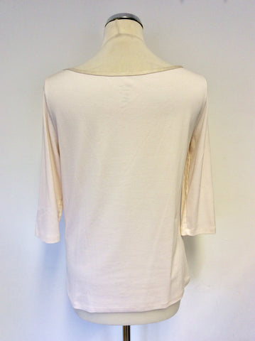 MARCCAIN NUDE SCOOP NECK BOW TRIM 3/4 SLEEVE TOP SIZE N5 UK 14/16
