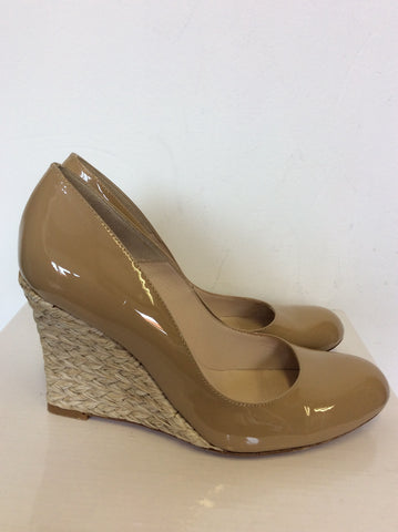 LK BENNETT MADDOX TAUPE PATENT LEATHER ESPADRILLE WEDGE HEELS SIZE 4/37