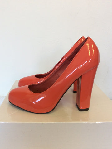 BRAND NEW WITH DEFECTS RAVEL CORAL PATENT HEELS SIZE 5/38