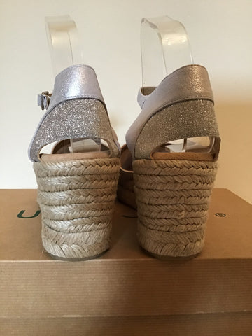 BRAND NEW UNISA SILVER LEATHER & GLITTER TRIM WEDGE HEEL SANDALS SIZE 7/40