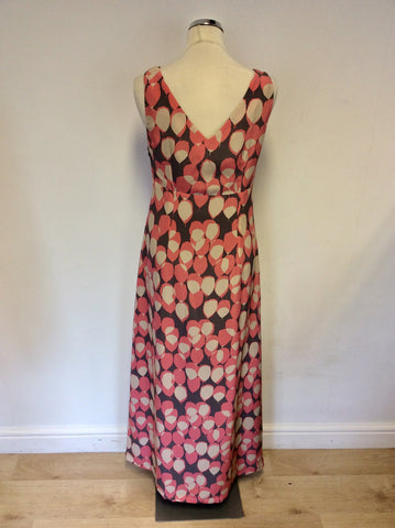 BODEN PINK,CREAM & BODEN PRINT SILK MAXI DRESS SIZE 10