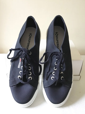 SUPERGRA S00CQEO NAVY BLUE CANVAS PLIMSOLS/ TRAINERS SIZE 7/41