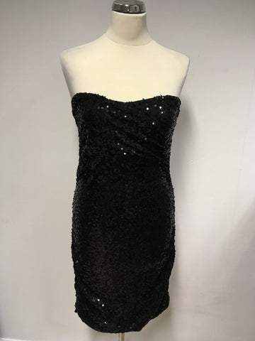 BRAND NEW DKNY BLACK SEQUINNED STRAPLESS BODYCON DRESS SIZE L