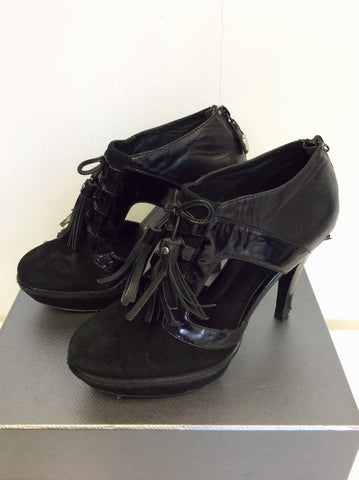 KAREN MILLEN BLACK SUEDE & LEATHER LACE UP TASSEL TRIM HEELS SIZE 5/38