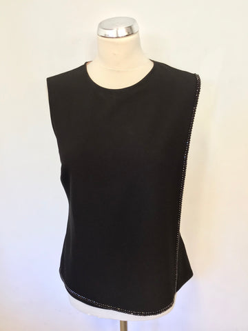 TED BAKER BLACK JEWEL TRIM FAUX WRAP TOP SIZE 2 UK 10