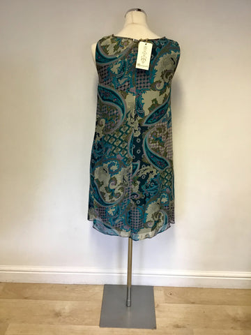 BRAND NEW MONSOON GREEN PAISLEY PRINT SILK DRESS SIZE 10