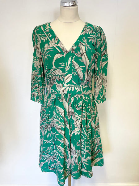 SOMERSET BY ALICE TEMPERLEY GREEN FLORAL PRINT SILK DRESS SIZE 12