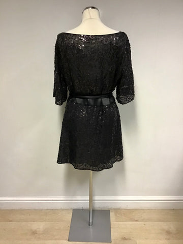 MONSOON FUSION BLACK SEQUINNED SILK SHORT SLEEVE MINI DRESS SIZE 16