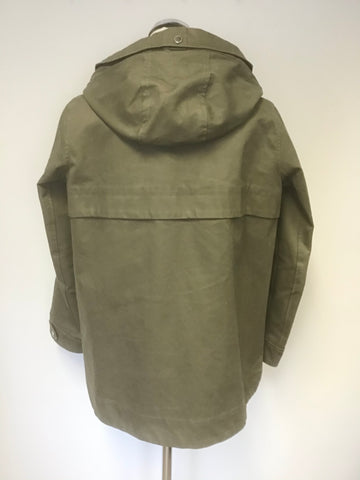 ABERCROMBIE & FITCH KHAKI GREEN WATERPROOF & WINDPROOF HOODED JACKET SIZE M
