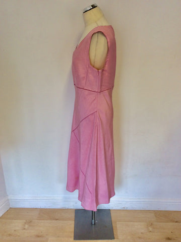 AUGUST SILK LIGHT PINK LINEN & SILK DRESS & COAT SUIT SIZE 14