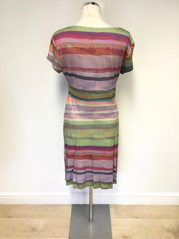 BRAND NEW DESIGUAL MULTI COLOURED CAP SLEEVE STRETCH JERSEY DRESS SIZE L