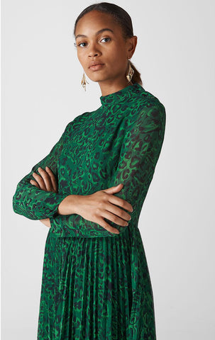 BRAND NEW WHISTLES GREEN JUNGLE CAT PLEATED DRESS SIZE 10