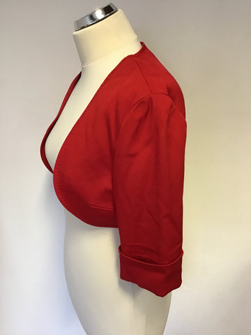 BRAND NEW COAST LUNA RED SHORT SLEEVE BOLERO JACKET SIZE 14