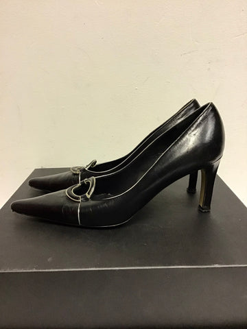 RENATA BLACK & SILVER TRIM ALL LEATHER HEELS SIZE 4.5/37.5