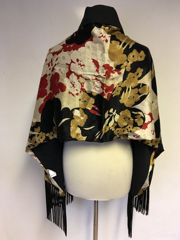 MARKS & SPENCER MULTI COLOURED  FLORAL PRINT FRINGED WRAP/ SCARF