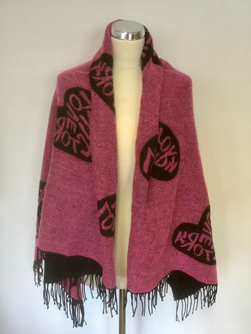 VICTORIAS SECRET PINK & BLACK HEART DESIGN REVERSIBLE SHAWL/ WRAP