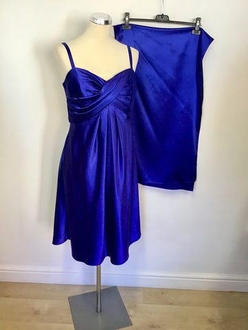 GINA BACCONI ELECTRIC BLUE SATIN SPECIAL OCCASION DRESS & MATCHING WRAP SIZE 14