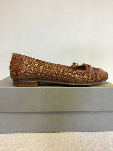 BRAND NEW MANAS BROWN LEATHER BOW TRIM FLATS SIZE 4/37