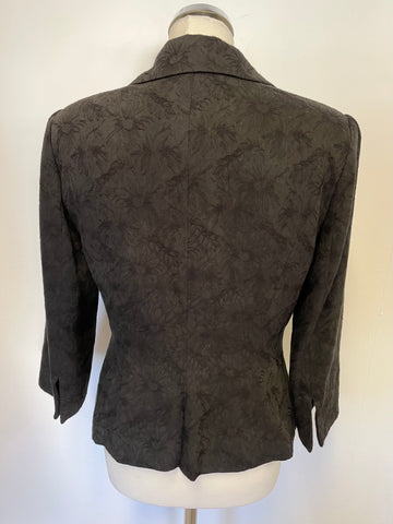 NOA NOA QUEENS CLUB BLACK FLORAL EMBOSSED FITTED JACKET SIZE M