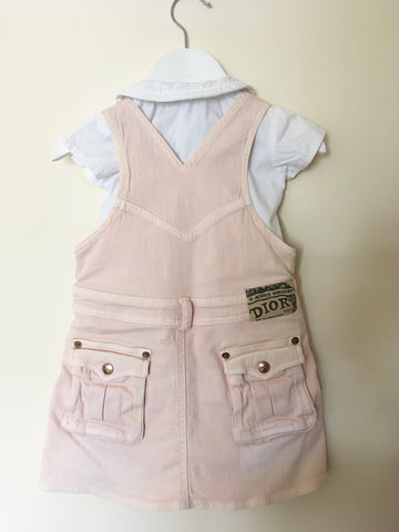CHRISTIAN DIOR BABY WHITE SHORT SLEEVE SHIRT & PINK DUNGAREE DRESS AGE 3 MONTHS