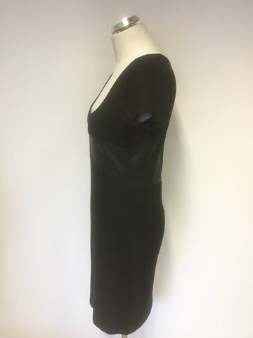 FRENCH CONNECTION BLACK & CONTRAST TRIM SHORT SLEEVE PENCIL DRESS SIZE 14