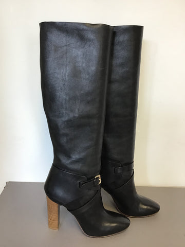 MULBERRY SOMERSET BLACK LEATHER HIGH HEEL KNEE HIGH BUCKLE TRIM BOOTS SIZE 7/40