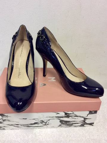 BRAND NEW MODA IN PELLE CARLINO NAVY PATENT CHAIN TRIM HEELS SIZE 4/37