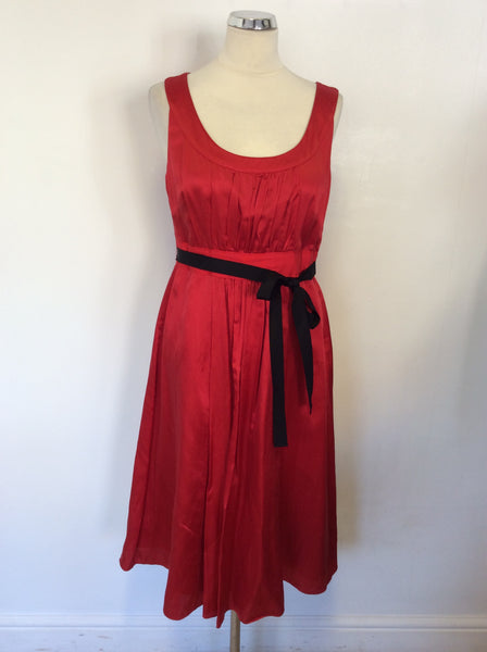 MONSOON RED SILK & COTTON SPECIAL OCCASION DRESS SIZE 14