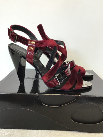 MISS SIXTY DEEP RED VELVET & PATENT LEATHER HEEL SANDALS SIZE 6/39