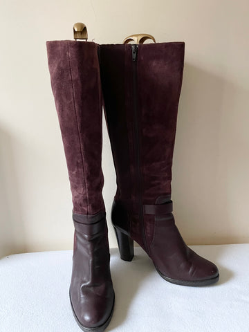MARKS & SPENCER AUTOGRAPH PLUM SUEDE & LEATHER KNEE LENGTH BOOTS SIZE 8/42