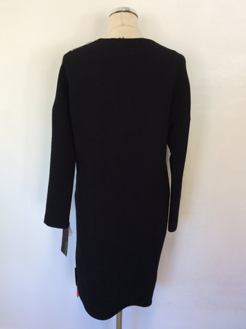 BRAND NEW CoSTUME NATIONAL BLACK WOOL LONG SLEEVE SHIFT DRESS SIZE 40 UK 12