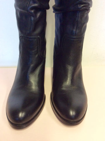 Brand New Staccato Black Leather Slouch Wedge Heel Boots Size 3.5/36