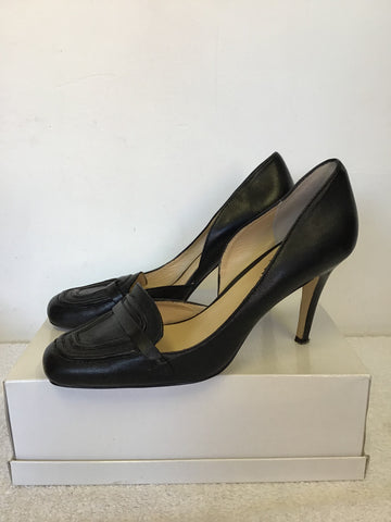 JAEGER BLACK LEATHER HEELS SIZE 7.5/41