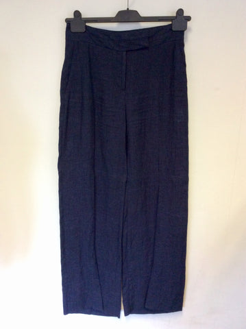 HOBBS DARK BLUE LINEN TROUSERS SIZE 8