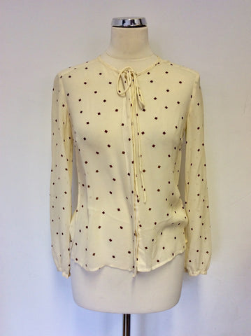 WHISTLES CREAM SILK & BROWN PRINT TIE FRONT BLOUSE SIZE 10