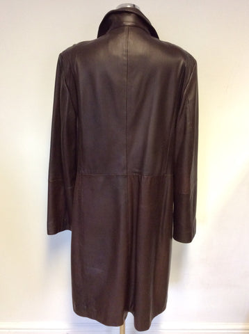 LAKELAND DARK BROWN LEATHER KNEE LENGTH COAT SIZE 20
