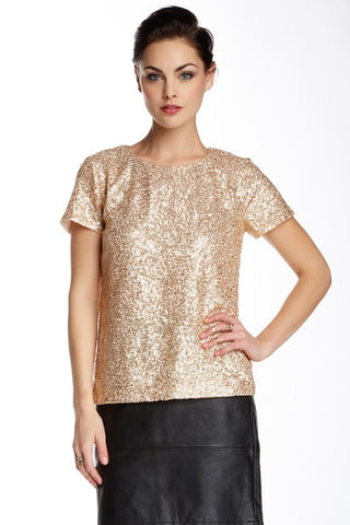 BRAND NEW FRENCH CONNECTION GOLD SEQUIN TOP & MATCHING JACKET SIZE 8