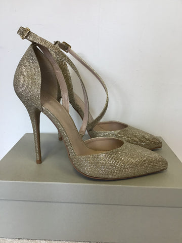 BRAND NEW CARVELA BY KURT GEIGER LUCY GOLD SPARKLE STILETTO HEELS SIZE 7.5/41