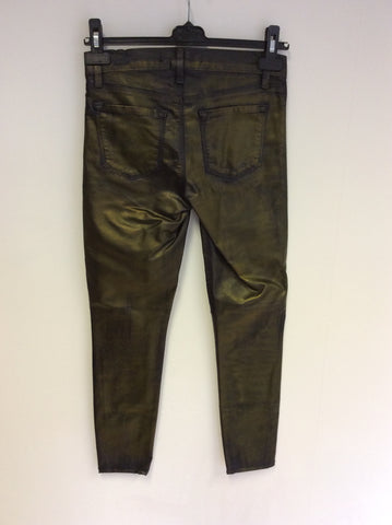 BRAND NEW J BRAND BRONZE COATED SUPER SKINNY JEANS SIZE 26W